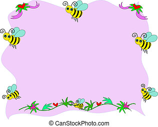 Bee Frame and Hearts Ribbons Vector