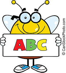 Bee Holding A Banner With Text ABC