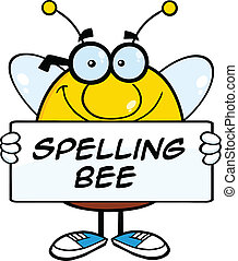 Bee Holding A Banner With Text