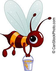 Bee holding a honey bucket