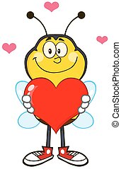 Bee Holding Up A Red Heart