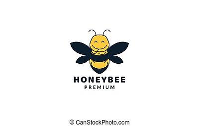 bee honey fat cute cartoon colorful logo vector illustration design