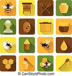 Bee Honey Icons Flat
