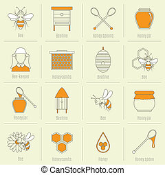 Bee honey icons flat line set