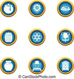 Bee honey icons set, flat style