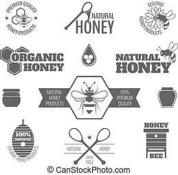 Bee honey label black