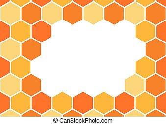 Bee honeycomb background frame, art honey border