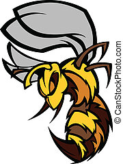 Graphic Vector Image of a Yellow Jacket Wasp with Fighting Hands