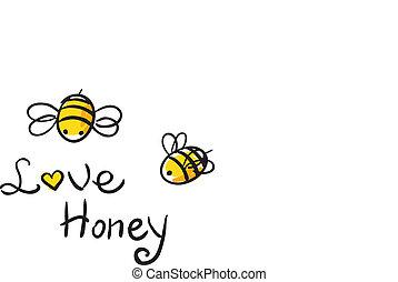 Bee Love honey vector illustration cute cartun