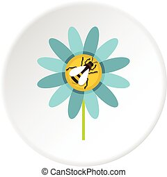 Bee on flower icon circle