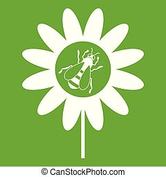 Bee on flower icon green