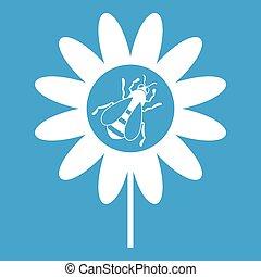 Bee on flower icon white