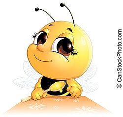 bee sits with a spoon