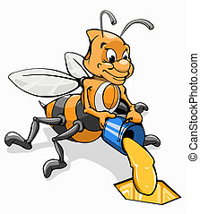 bee with a bucket of honey