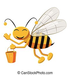Bee with bucket of honey icon, cartoon style