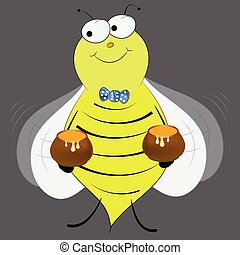 bee with honey cute cartoon vector illustration