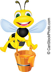 Vector illustration of bee carrying honey