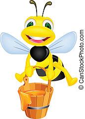 Vector illustration of bee cartoon carrying honey