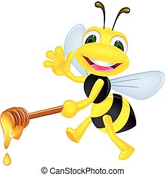 Vector illustration of bee with honey