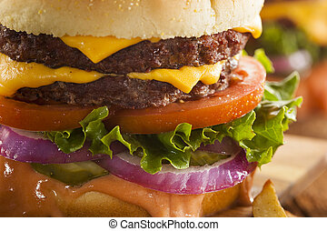 Beef Cheese Hamburger with Lettuce Tomato and Onions