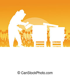 Beekeeper working in apiary vector background landscape for poster