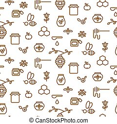 Beekeeping outline icon seamless vector pattern.