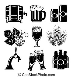 set icons of beer. Vector black and white silhouette image