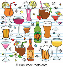 Beer, Wine, and Mixed Alcohol Drinks Hand Drawn Notebook Doodle Design Elements Set on Lined Sketchbook Paper Background- Vector Illustration