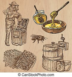 BEES, BEEKEEPING and HONEY. Collection of an hand drawn vector illustrations (pack no.5). Each drawing comprises of three or four layers of lines, the colored background is isolated.