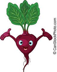 Cartoon cute beetroot presenting something