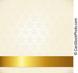 Beige Damask Background With Gold Ribbon, Vector Illustration