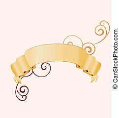 beige vector scroll banner with decorative flourishes isolated on light background