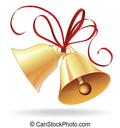 Bell golden for Christmas or wedding with red bow icon, element for design.