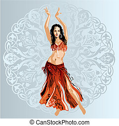Dancer on arabic ornament background, editable vector illustration