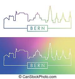 Bern skyline. Colorful linear style.