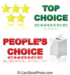 """Glossy illustrations of two icons for best choice awards or products: """"Top choice"""" with stars, and """"People's Choice"""" with ballot box"""