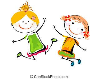 best friends; happy kids playing