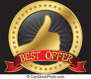 Best offer label with thumb up red ribbon, vector