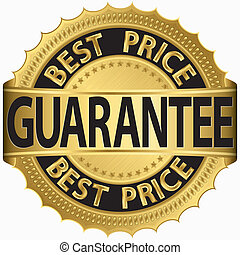 Best price guarantee golden label, vector