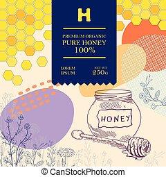 Best pure honey. Packaging design or label.