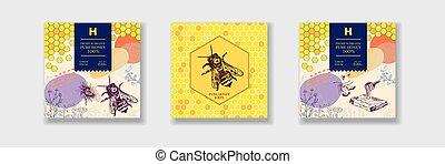 Best pure honey set. Packaging design or label.