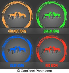 Betting on dog fighting icon. Fashionable modern style. In the orange, green, blue, red design. Vector
