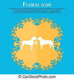Betting on dog fighting icon. Floral flat design on a blue abstract background with place for your text. Vector