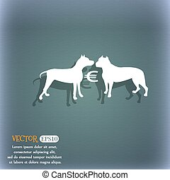 Betting on dog fighting icon. On the blue-green abstract background with shadow and space for your text. Vector