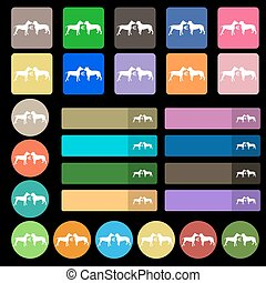 Betting on dog fighting icon sign. Set from twenty seven multicolored flat buttons. Vector