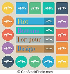 Betting on dog fighting icon sign. Set of twenty colored flat, round, square and rectangular buttons. Vector