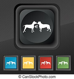 Betting on dog fighting icon symbol. Set of five colorful, stylish buttons on black texture for your design. Vector