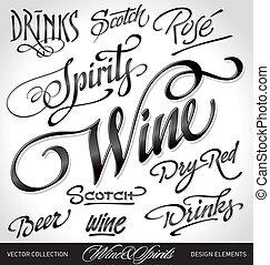 beverage headlines set (vector)