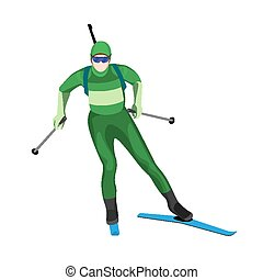 Biathlete skier with two lightweight poles on skis with rifle