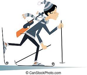 Cartoon biathlon competitor illustration